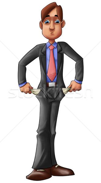 Nincs pénz törött fiatal igazgató üres zseb Stock fotó © davisales