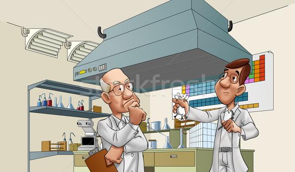 Lekarzy laboratorium dwa patrząc szczur wiele Zdjęcia stock © davisales