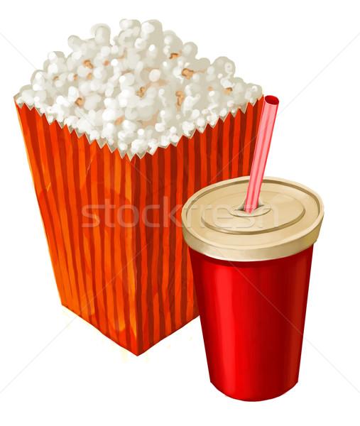 Popcorn cola duży kubek inny napój Zdjęcia stock © davisales