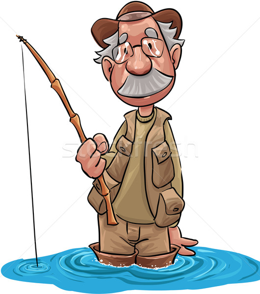 Starych rybak rybaka czeka ryb Zdjęcia stock © davisales