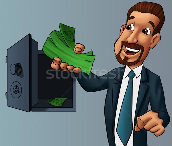 Sécurité boîte jeunes affaires argent main Photo stock © davisales