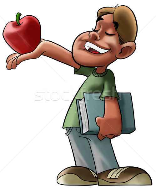 student and red apple Stock photo © davisales