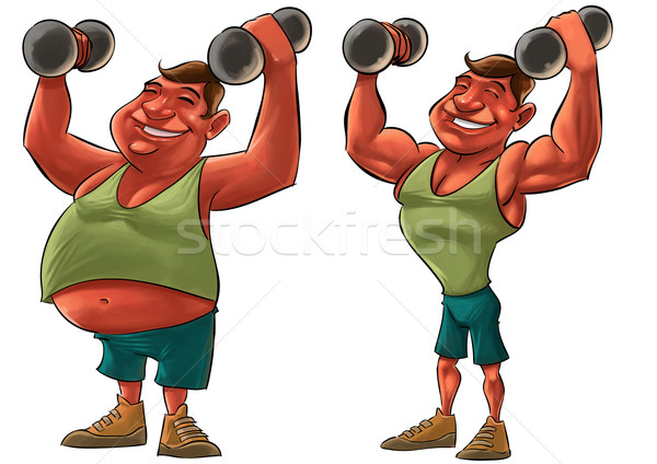 Tłuszczu silne człowiek dwa jeden Zdjęcia stock © davisales