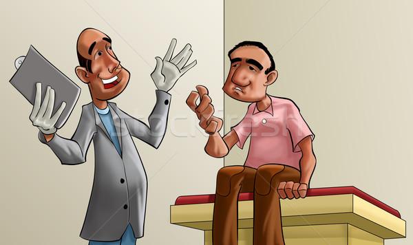 Médecin patient cartoon illustration main heureux Photo stock © davisales