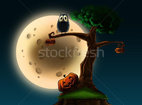 Halloween arbre illustration chouette pleine lune Photo stock © davisales