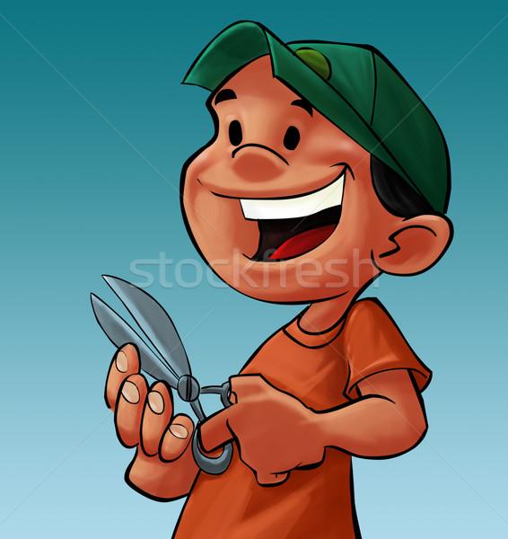 boy with a scissor Stock photo © davisales