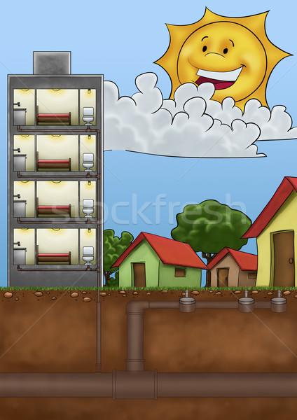 Csövek épít belső ház fű épület Stock fotó © davisales