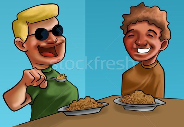 Chłopców jedzenie żywności tablicy twarz włosy Zdjęcia stock © davisales