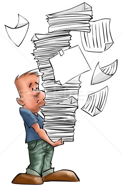 Zajęty chłopca zmartwiony działalności biuro pracy Zdjęcia stock © davisales