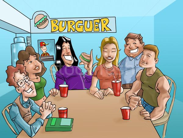 Burger adolescents groupe manger potable boissons Photo stock © davisales