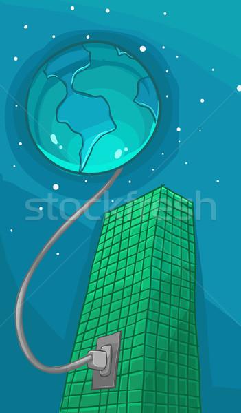 Companhia terra planeta edifício energia cabo Foto stock © davisales