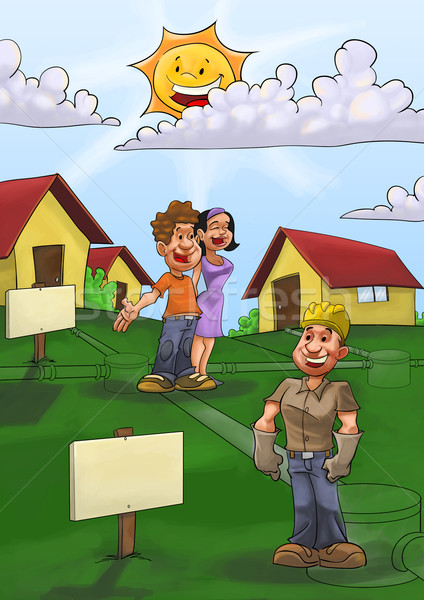 Drenar casa casas pequeno cidade Foto stock © davisales