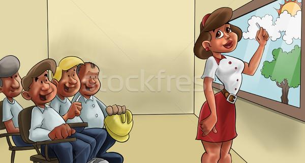 Tanít környezet tanár osztály idősebb férfiak Stock fotó © davisales