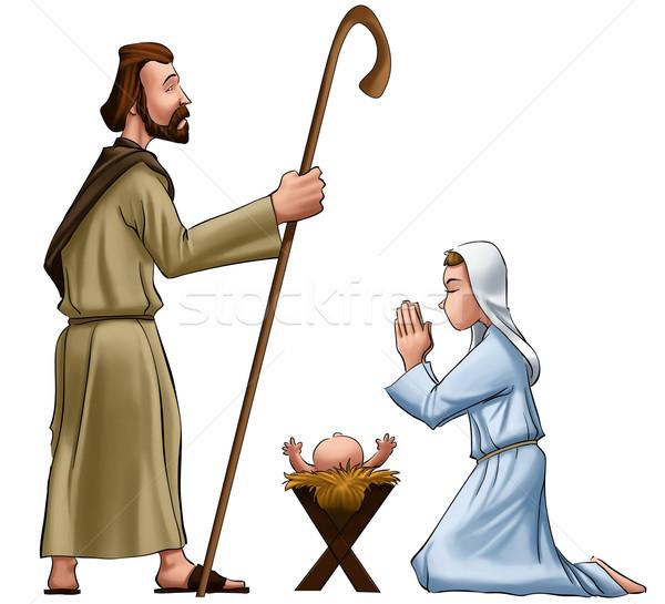 Scena Jezusa baby wiadomości grupy Biblii Zdjęcia stock © davisales