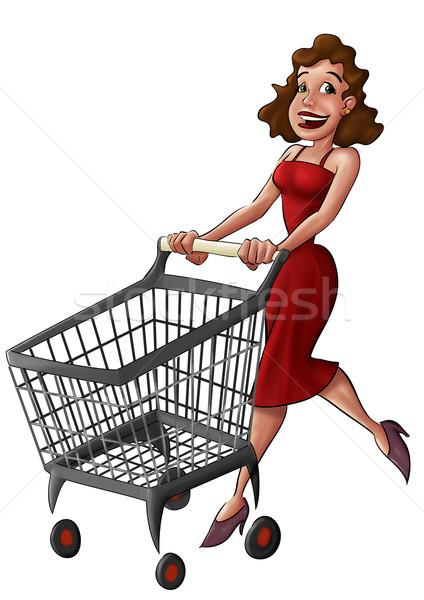 Kobieta supermarket spaceru samochodu podpisania polu Zdjęcia stock © davisales
