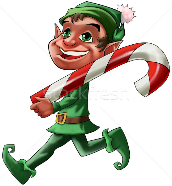 elf with candy Stock photo © davisales