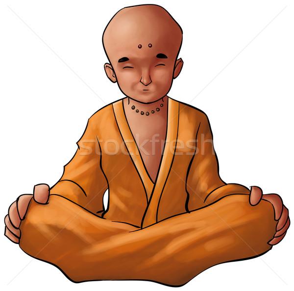 小さな 仏 僧侶 瞑想 座る 位置 ストックフォト © davisales