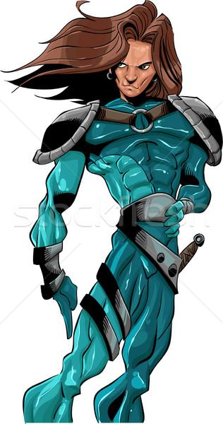 Młodych bohater niebieski uniform moc Zdjęcia stock © davisales