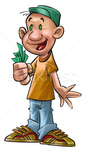 Rico menino dinheiro mão negócio sorrir Foto stock © davisales