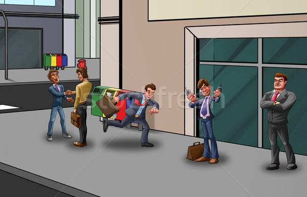 Dépêchez rue personnes homme d'affaires bureau bâtiment Photo stock © davisales