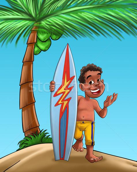 Chłopca surfowania pokładzie czarny palma plaży Zdjęcia stock © davisales
