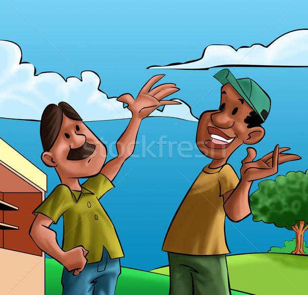 Deux heureux amis parler petite ville paysage Photo stock © davisales