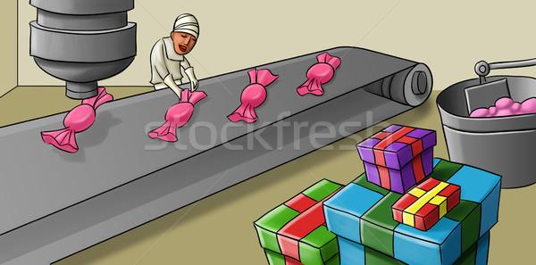 Doce linha produção mulher trabalhando planta Foto stock © davisales