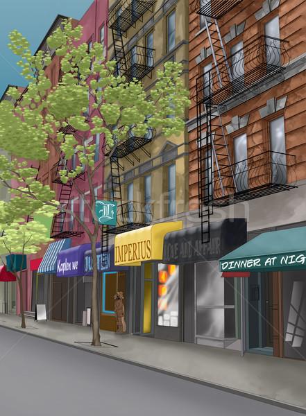 通り ニューヨーク市 ツリー 火災 市 レストラン ストックフォト © davisales