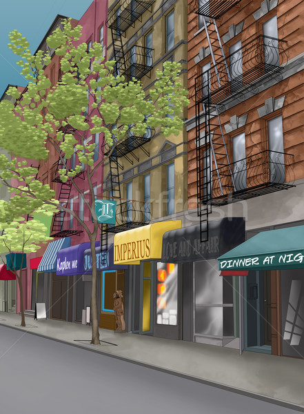 Rue New York City arbre feu ville restaurant Photo stock © davisales