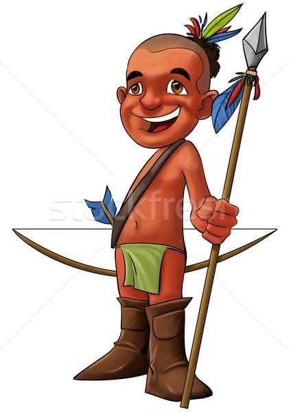 Młodych amerykański tubylec szczęśliwy uśmiechnięty oszczep Zdjęcia stock © davisales