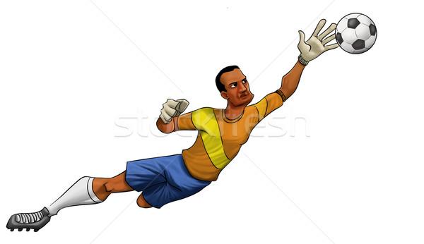 вратарь прыжки мяча один стороны Сток-фото © davisales