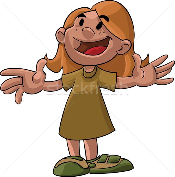 Dziewczyna otwarte broni cartoon ilustracja młoda dziewczyna Zdjęcia stock © davisales