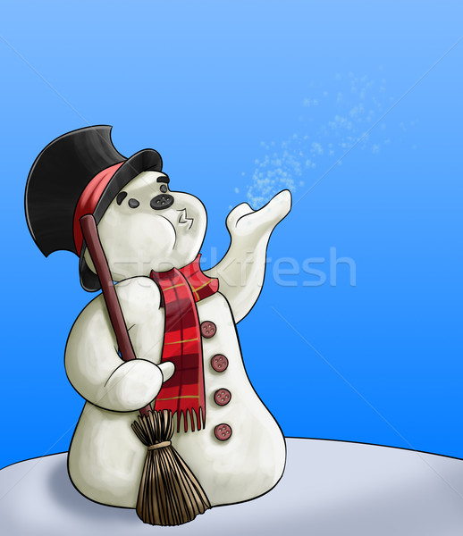 Boneco de neve vassoura flocos de neve céu projeto Foto stock © davisales