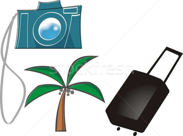 Voyage objets ciel Palm Voyage sable Photo stock © davisales