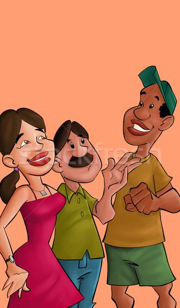 Amis parler trois réunion Rechercher heureux Photo stock © davisales