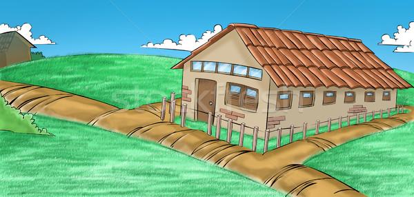 Ház farm égbolt fű épület fal Stock fotó © davisales