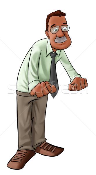 Pracownika człowiek duży szary wąsy biznesmen Zdjęcia stock © davisales
