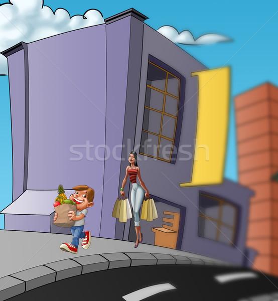 Ludzi zakupu chłopca kobieta spaceru torby Zdjęcia stock © davisales