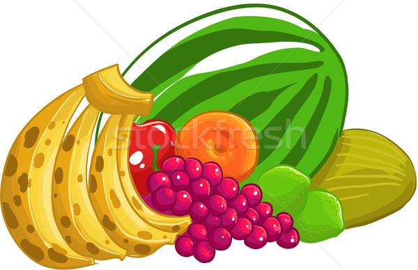Gyümölcs mix gyümölcsök kép összes terv gyümölcs Stock fotó © davisales