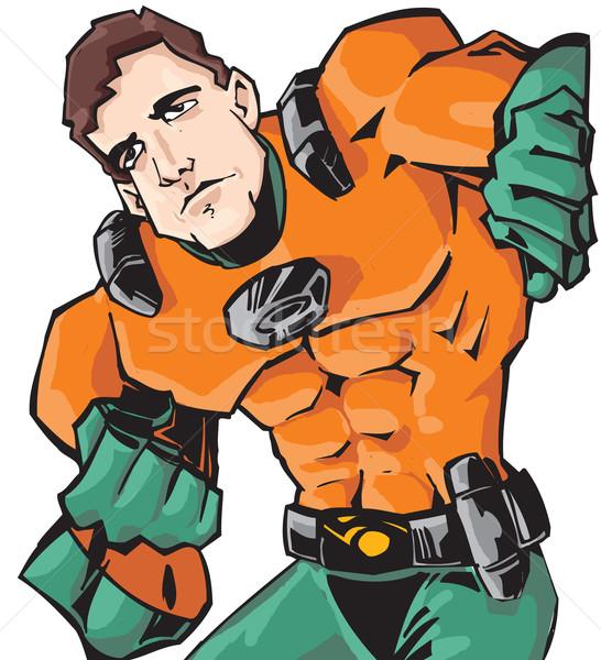 Superhero ilustracja technologii odizolowany biały człowiek Zdjęcia stock © davisales