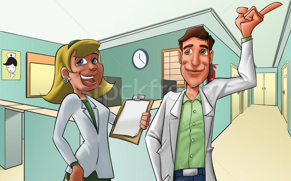 Hospital veja feliz mão médico saúde Foto stock © davisales
