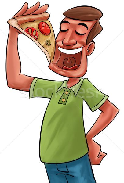 Alimentação pizza grande fatia mão Foto stock © davisales