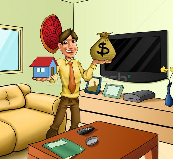 Pokój człowiek domu ceny działalności pracy Zdjęcia stock © davisales