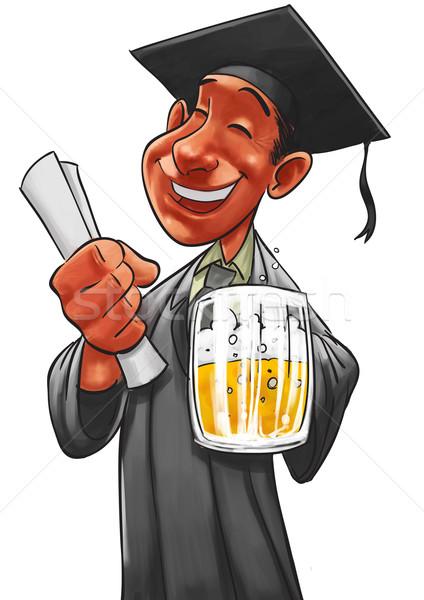 Photo stock: étudiant · pinte · bière · main · lumière · verre