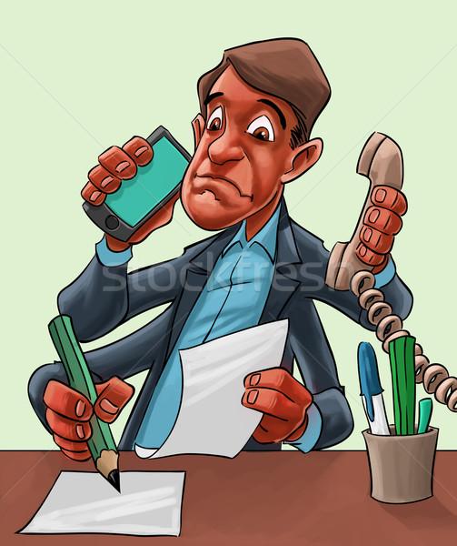 Fumetto cartoon uomo multitasking imprenditore Foto d'archivio © davisales