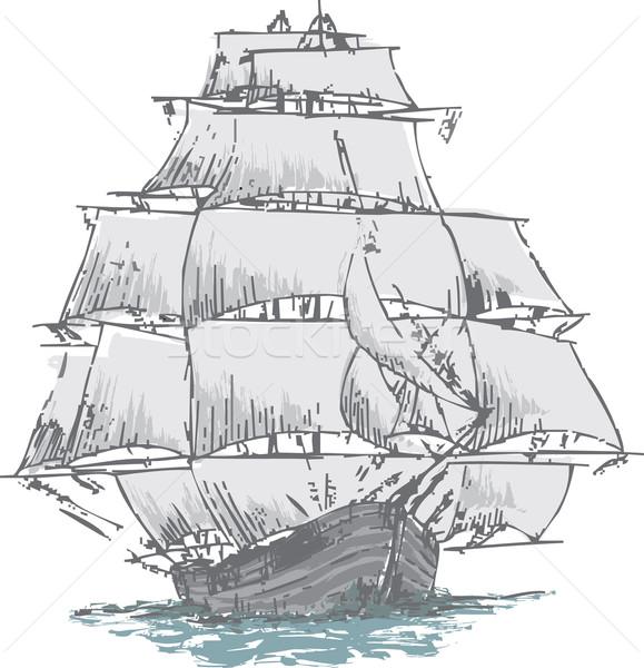 复杂彩色帆船简笔画
