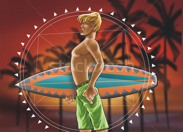 Surfowania chłopca mandala pokładzie wygaśnięcia wiosną Zdjęcia stock © davisales