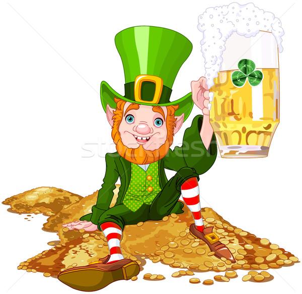 Manó illusztráció aranyos sör zöld ital Stock fotó © Dazdraperma