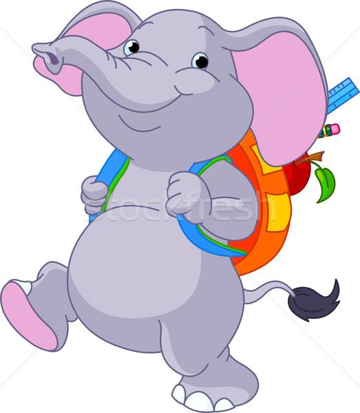 Cute elephant go to school Stock photo © Dazdraperma