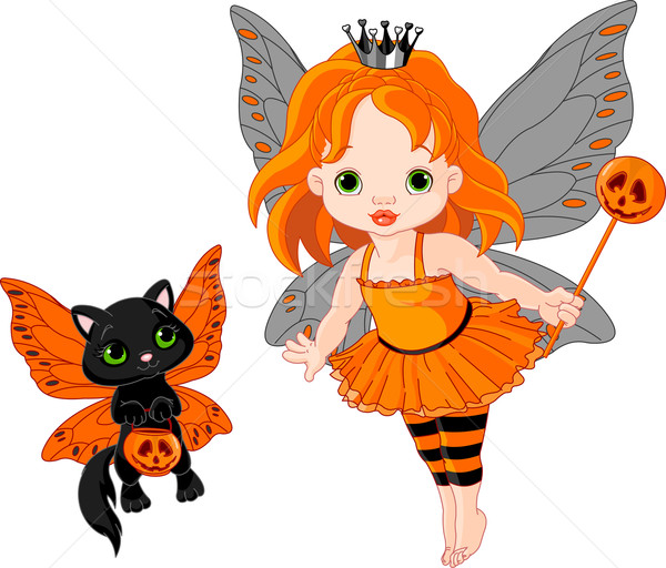 Cute Halloween baby fairy and cat Stock photo © Dazdraperma